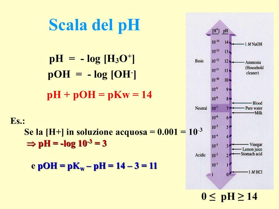 Scala del pH pH = - log [H3O+] pOH = - log [OH-] pH + pOH = pKw = 14